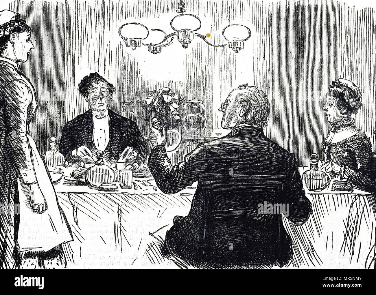 Cartoon depicting a wealthy family disappointed by water being served to them rather than alcohol. Dated 19th century Stock Photo