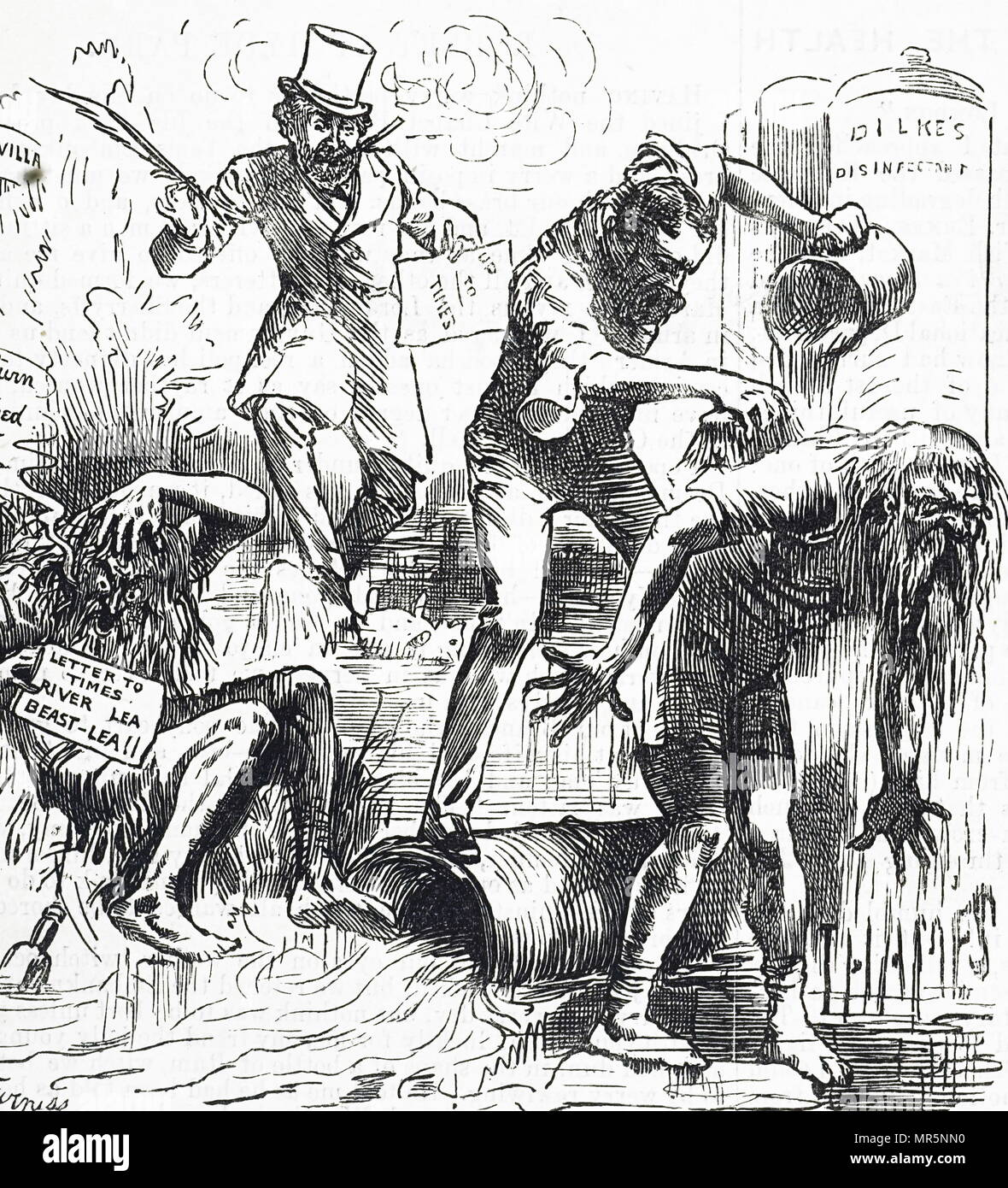 Cartoon depicting the Thames and the Lea Rivers being attacked because of their filthy condition. Illustrated by Harry Furniss (1854-1925) an Irish artist and illustrator. Dated 19th century - Stock Image