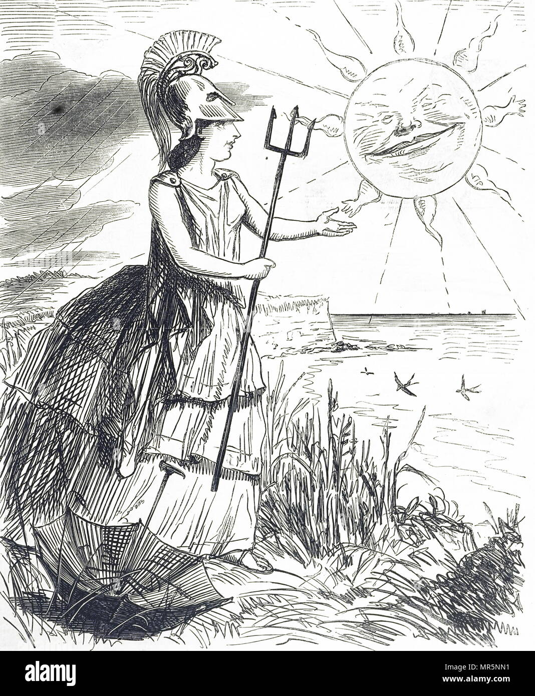 Cartoon depicting Britannia during a bad summer in Britain. Dated 19th century - Stock Image