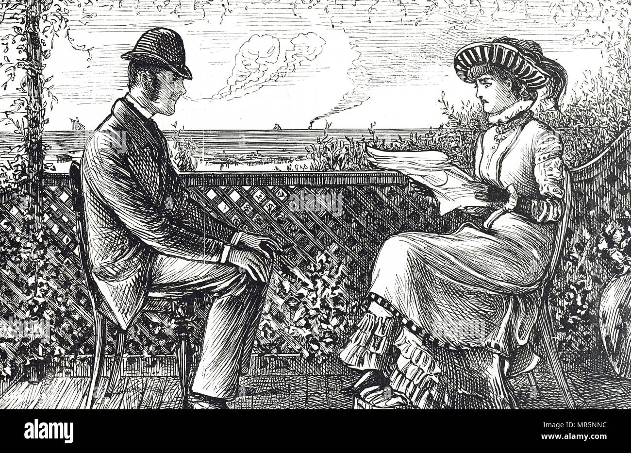 Cartoon depicting a husband and wife - the husband is responsible for his wife's debts unless he published a revocation of his responsibilities. Illustrated by George du Maurier (1834-1896) a Franco-British cartoonist and author. Dated 19th century - Stock Image