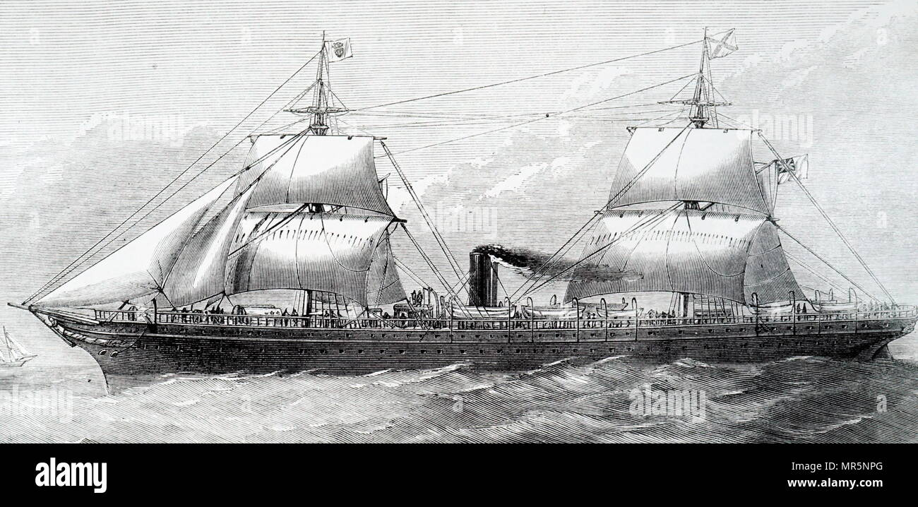 Engraving depicting the Royal Mail Company's steamer 'Boyne'. Dated 19th century - Stock Image