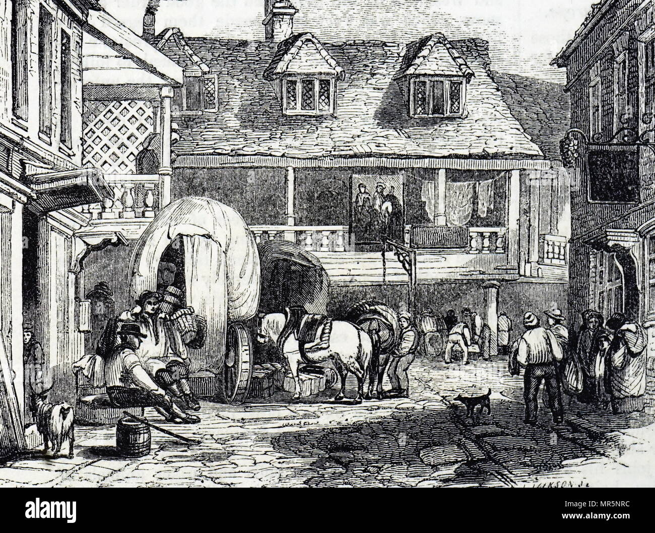 Engraving depicting waggons in the yard of Talbot Inn, Southwark. Dated 19th century - Stock Image