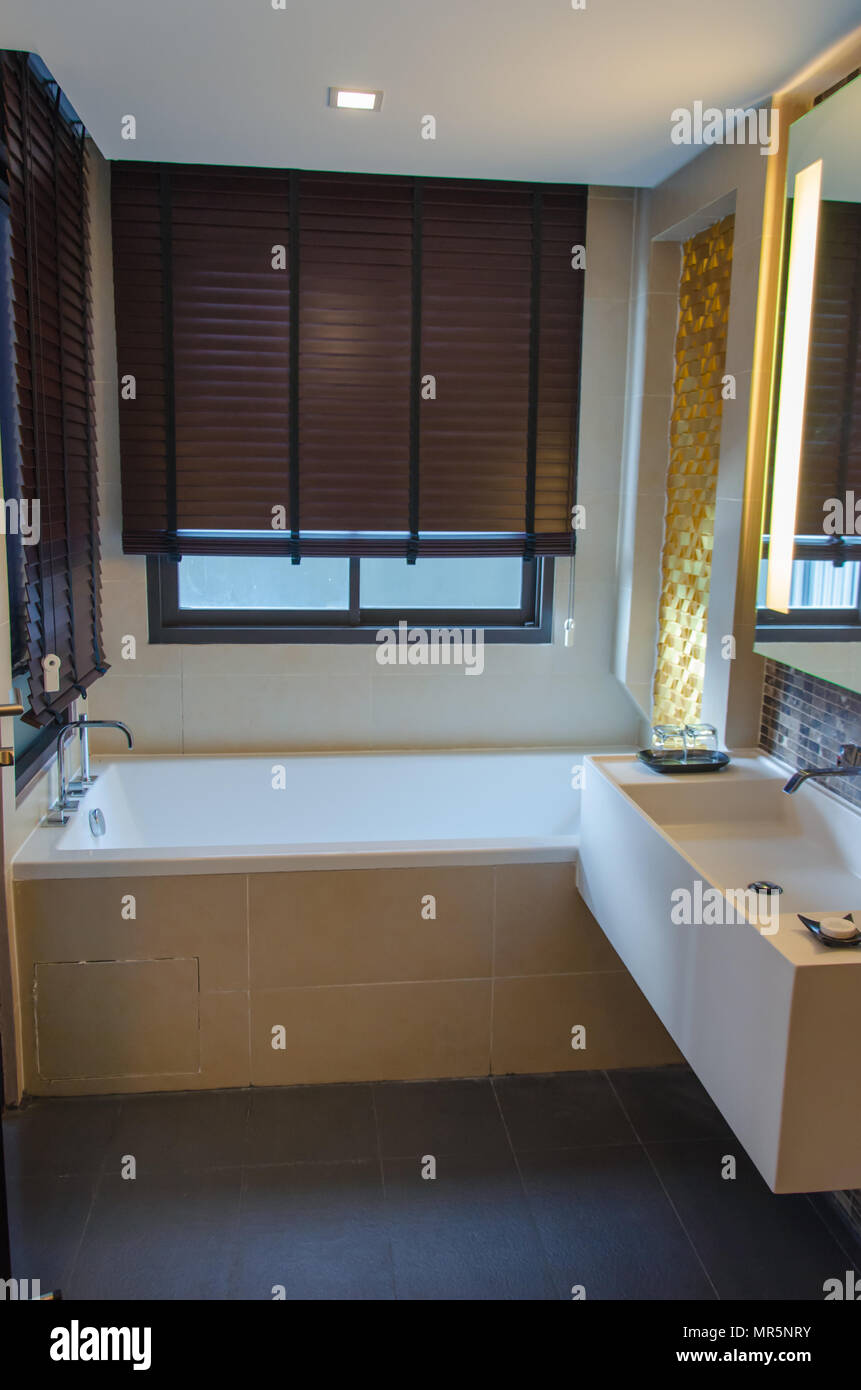 Modern interior bathroom shower Stock Photo
