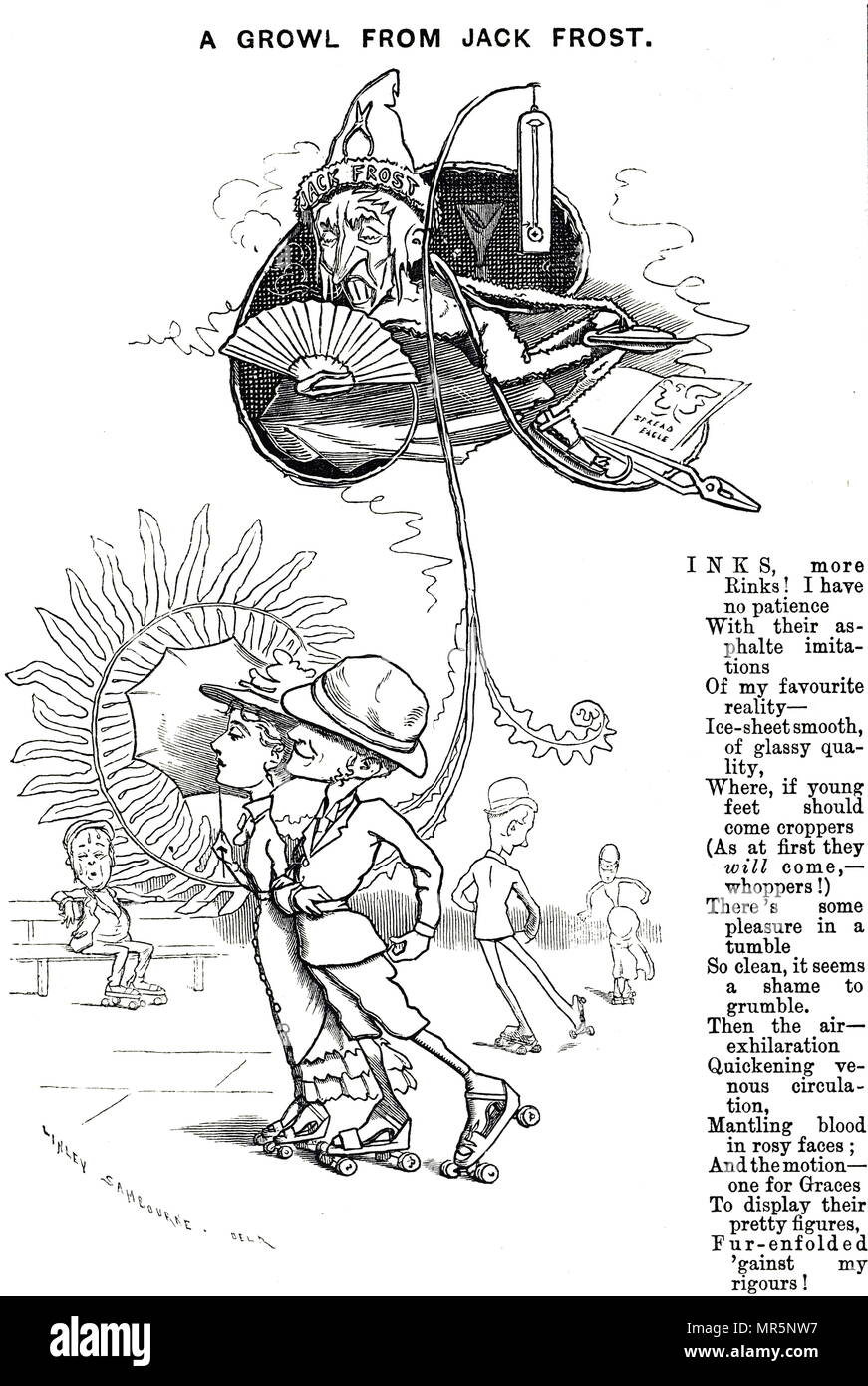 Cartoon promoting roller skates, which means all year round skating is made possible - much to the disgust of Jack Frost. Dated 19th century - Stock Image