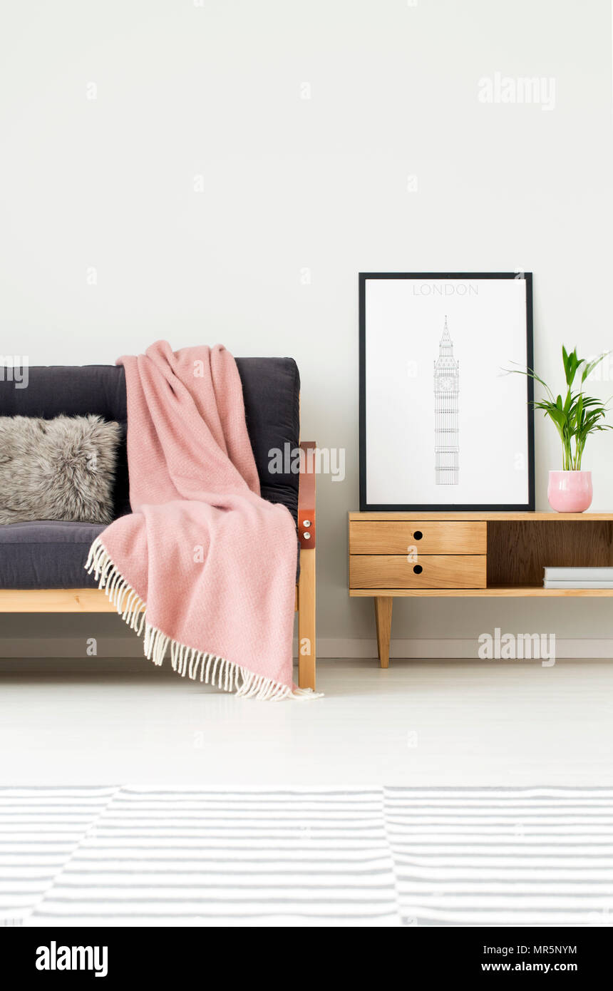 Plant And Poster On Rustic Cupboard Next To A Dark Sofa With Grey