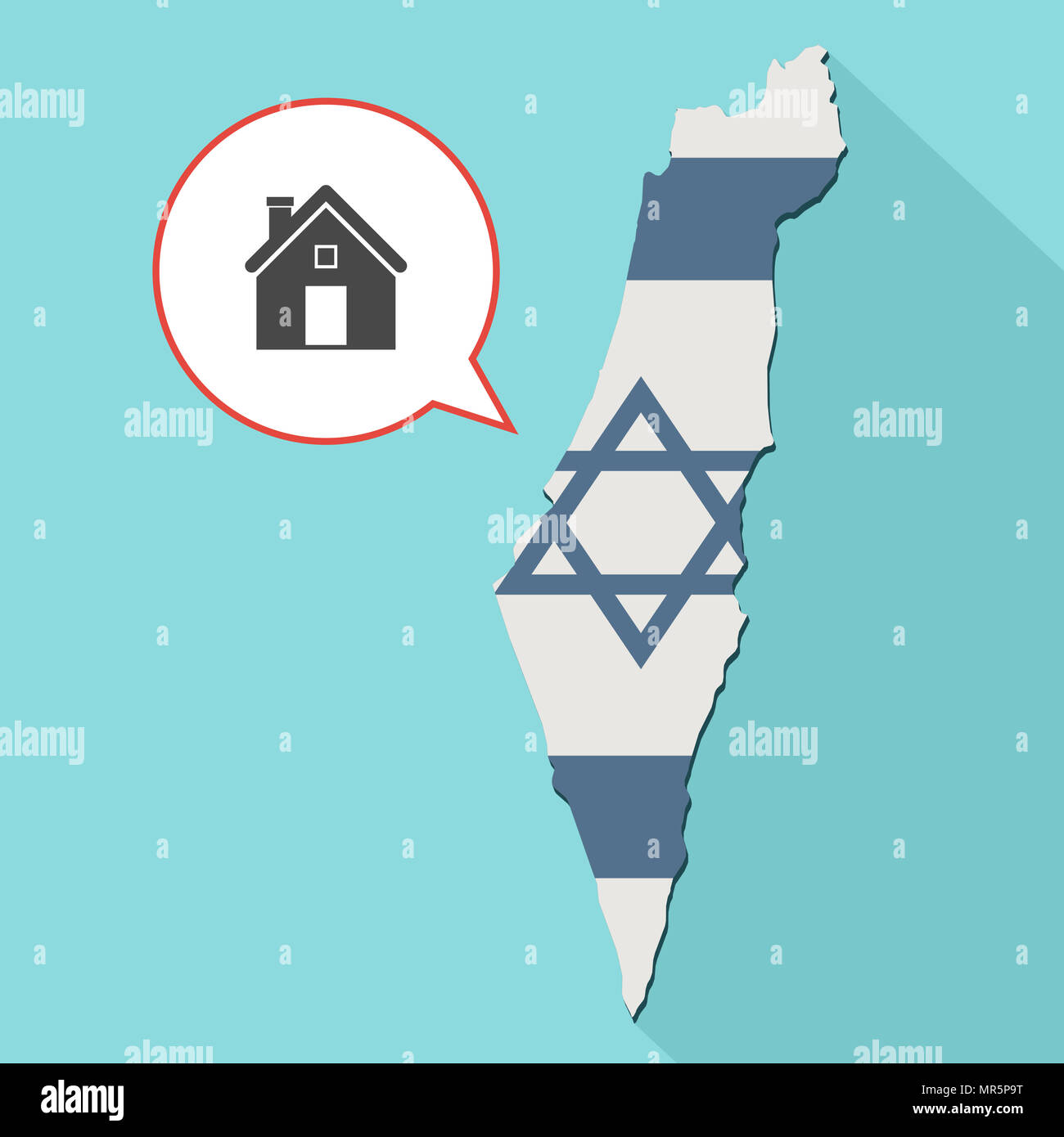 Illustration of a long shadow Israel map with its flag and a comic balloon with a house - Stock Image