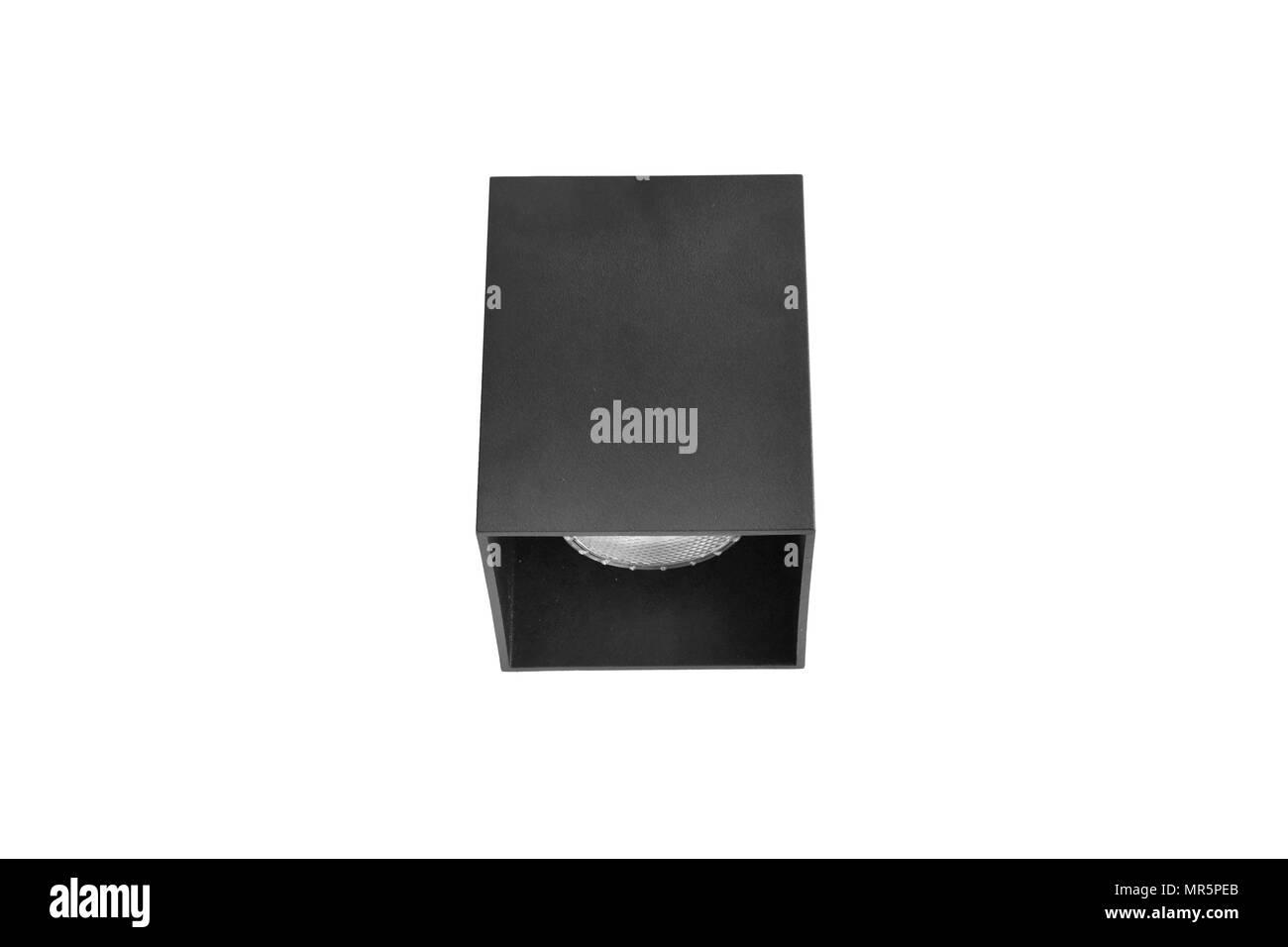 Black downlight or Ceiling light on white background - Stock Image