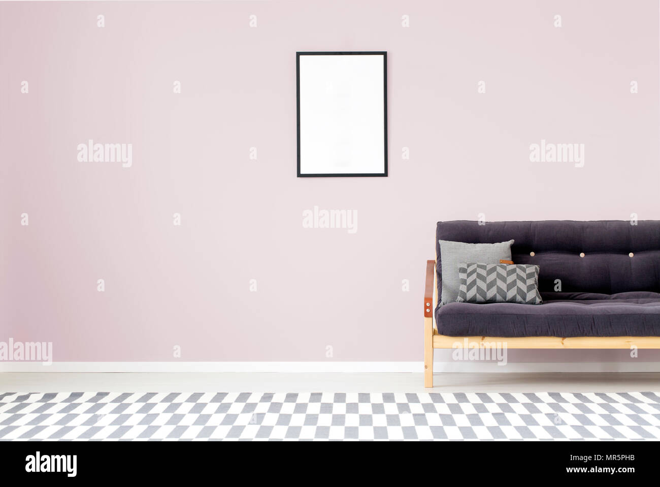 Mockup of empty poster on purple wall in living room interior with ...