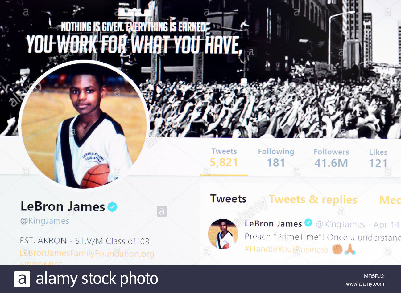 LeBron James Twitter page (2018 Stock Photo  186368282 - Alamy 3a869be3f