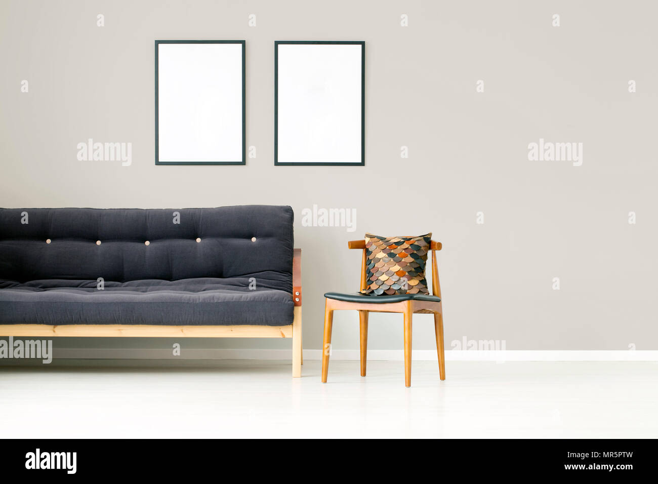 Pleasant Brown Pillow On Wooden Chair Next To Black Couch Against Andrewgaddart Wooden Chair Designs For Living Room Andrewgaddartcom