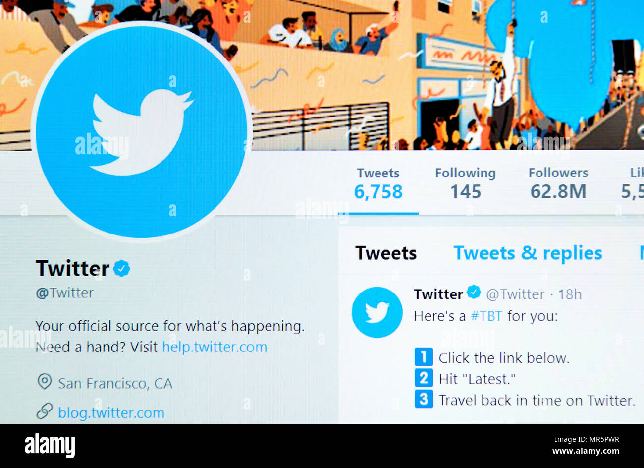 Twitter's own Twitter page (2018) - Stock Image