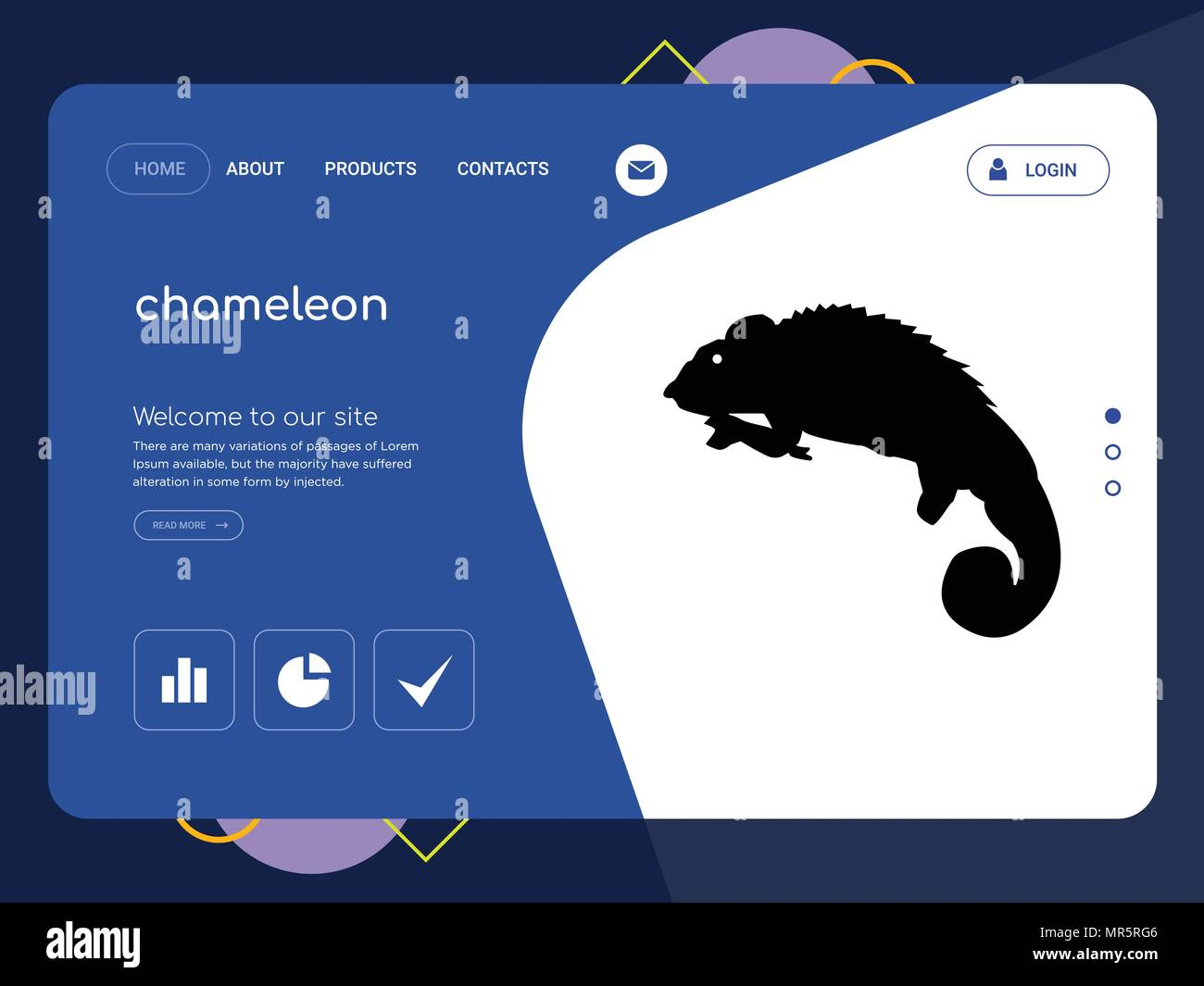 Quality One Page Chameleon Website Template Vector Eps Modern Web