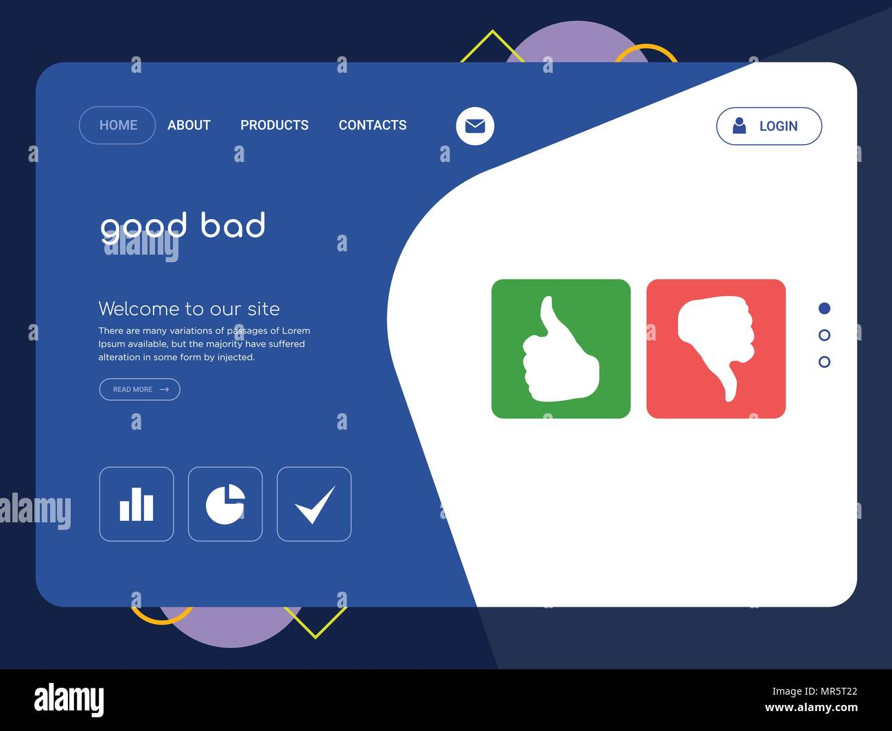 Quality One Page Good Bad Website Template Vector Eps Modern Web Design With Flat Ui Elements And Landscape Illustration Ideal For Landing Page Stock Vector Image Art Alamy