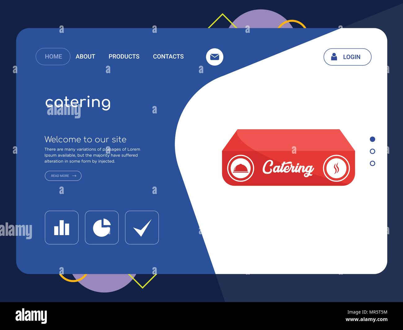 quality one page catering website template vector eps modern web