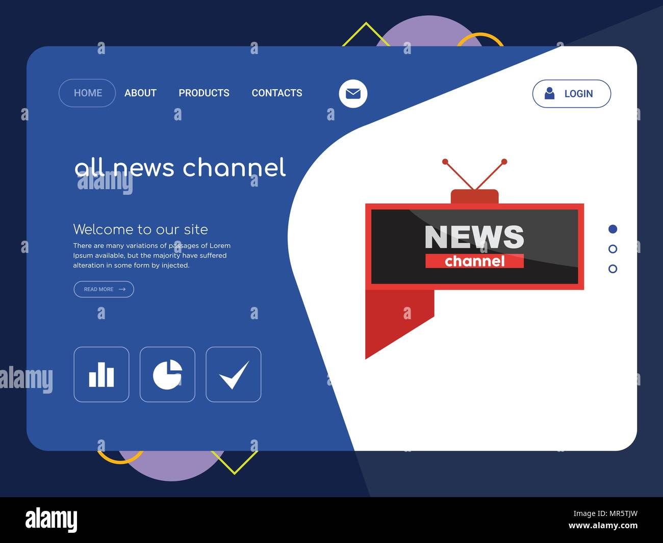 Quality One Page all news channel Website Template Vector