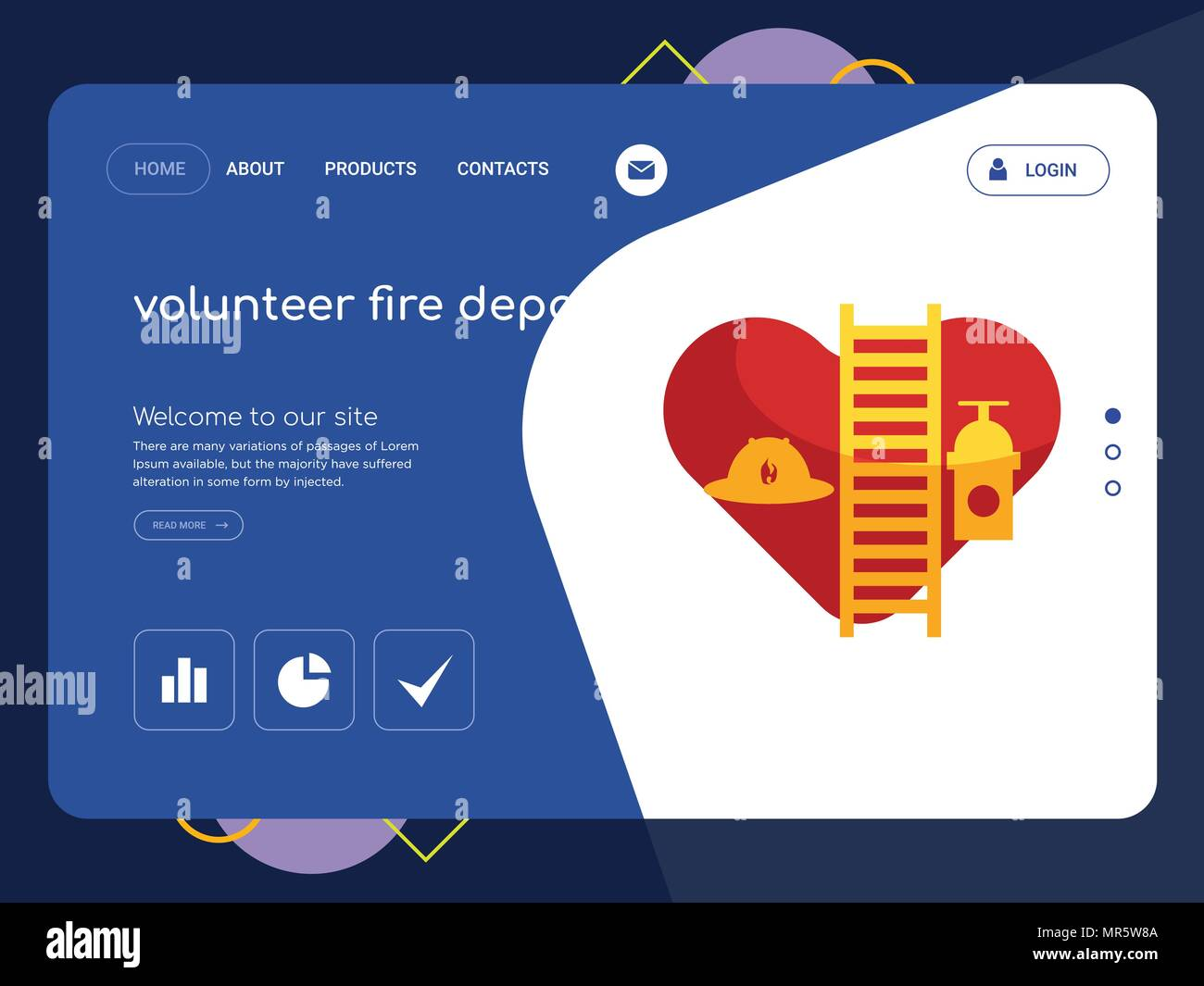 Quality One Page Volunteer Fire Department Website Template Vector Eps Modern Web Design With Flat