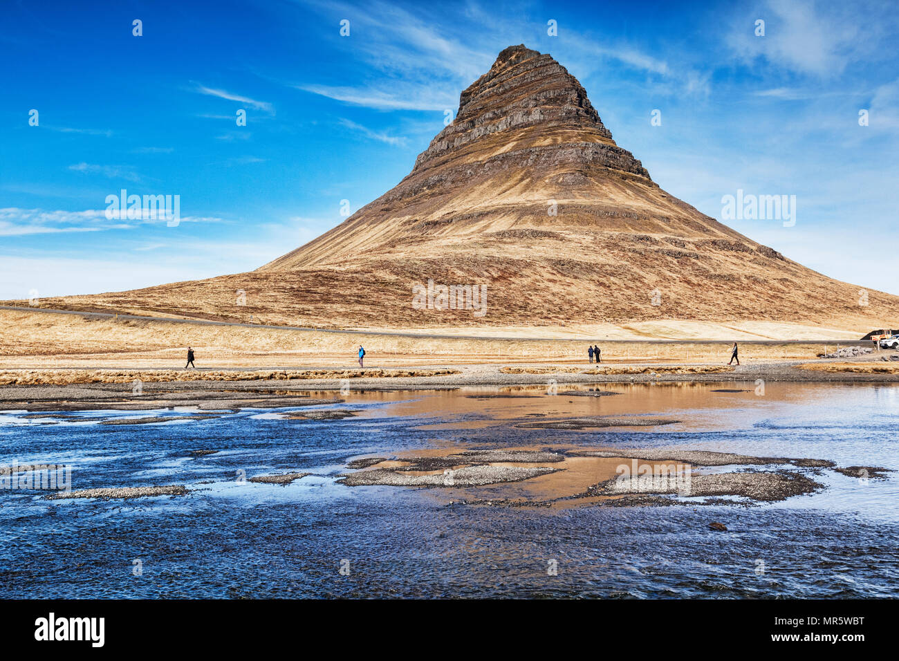 16 April 2018: Snaefellsnes Peninsula, West Iceland - Kirkjufell, famous mountain and icon of Iceland. - Stock Image