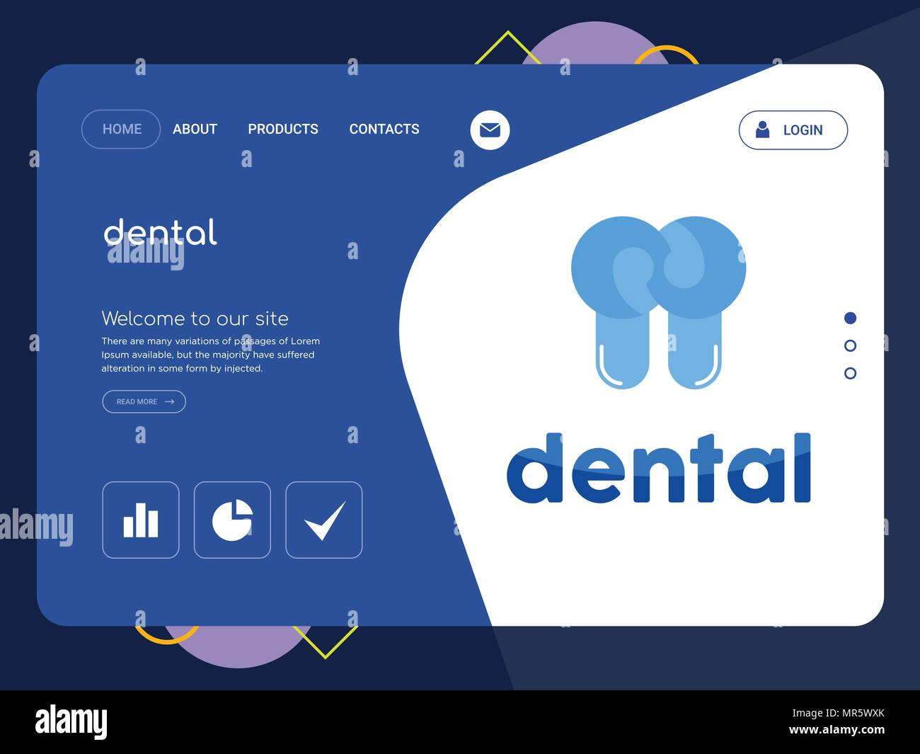 Quality One Page Dental Website Template Vector Eps Modern Web