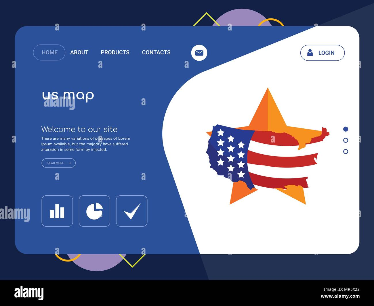 Flat Us Map.Quality One Page Us Map Website Template Vector Eps Modern Web