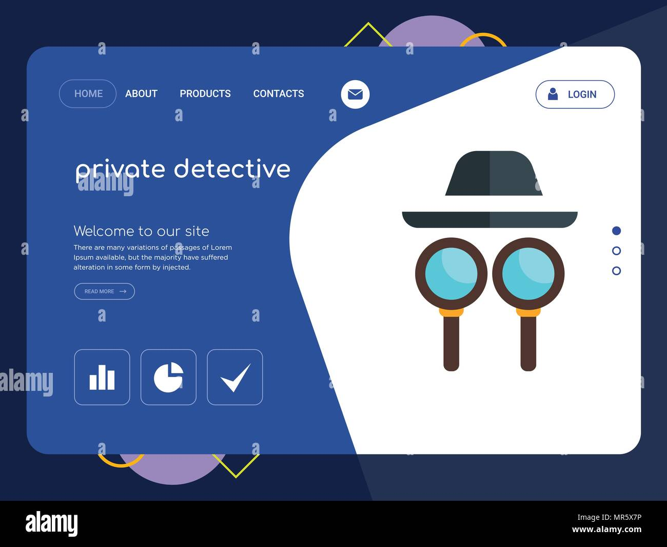 quality one page private detective website template vector. Black Bedroom Furniture Sets. Home Design Ideas