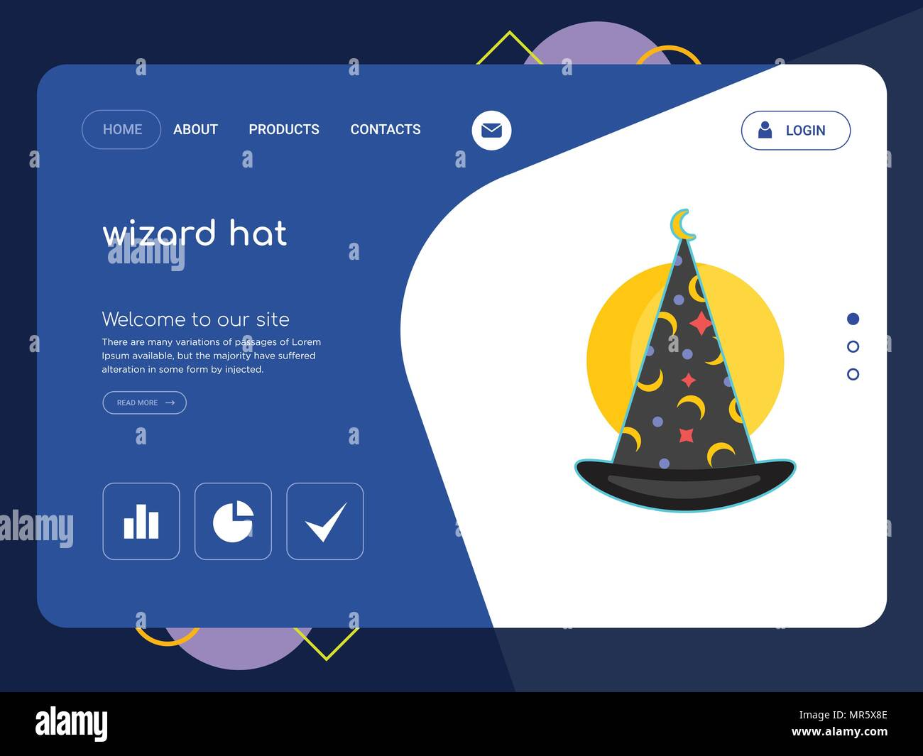 quality one page wizard hat website template vector eps modern web