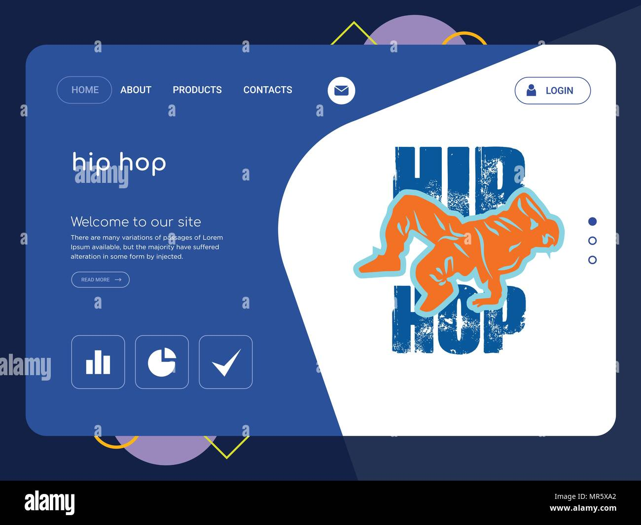 Quality One Page hip hop Website Template Vector Eps, Modern Web ...