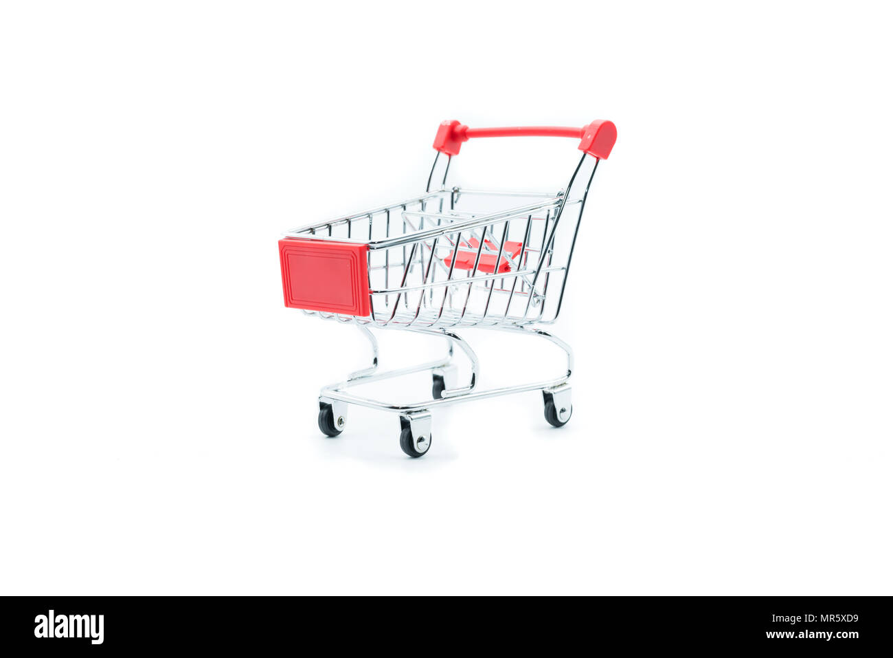 Empty shopping cart trolley isolated on white backgrounds - Stock Image