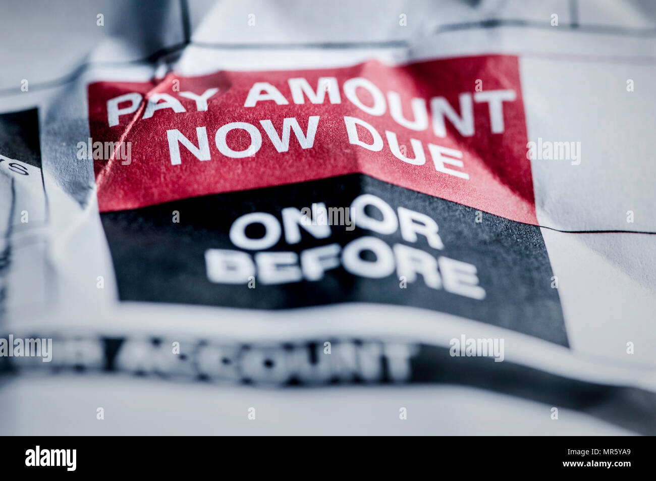 Consumer Credit Debt Payment Now Due - Stock Image