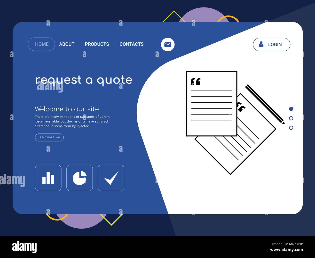 quality one page request a quote website template vector eps modern