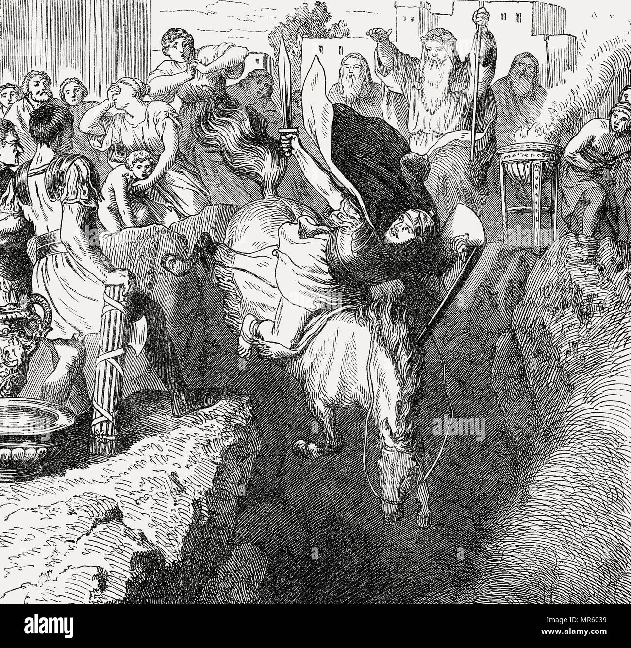 The Sacrificial Death of Marcus Curtius, Ancient Rome - Stock Image