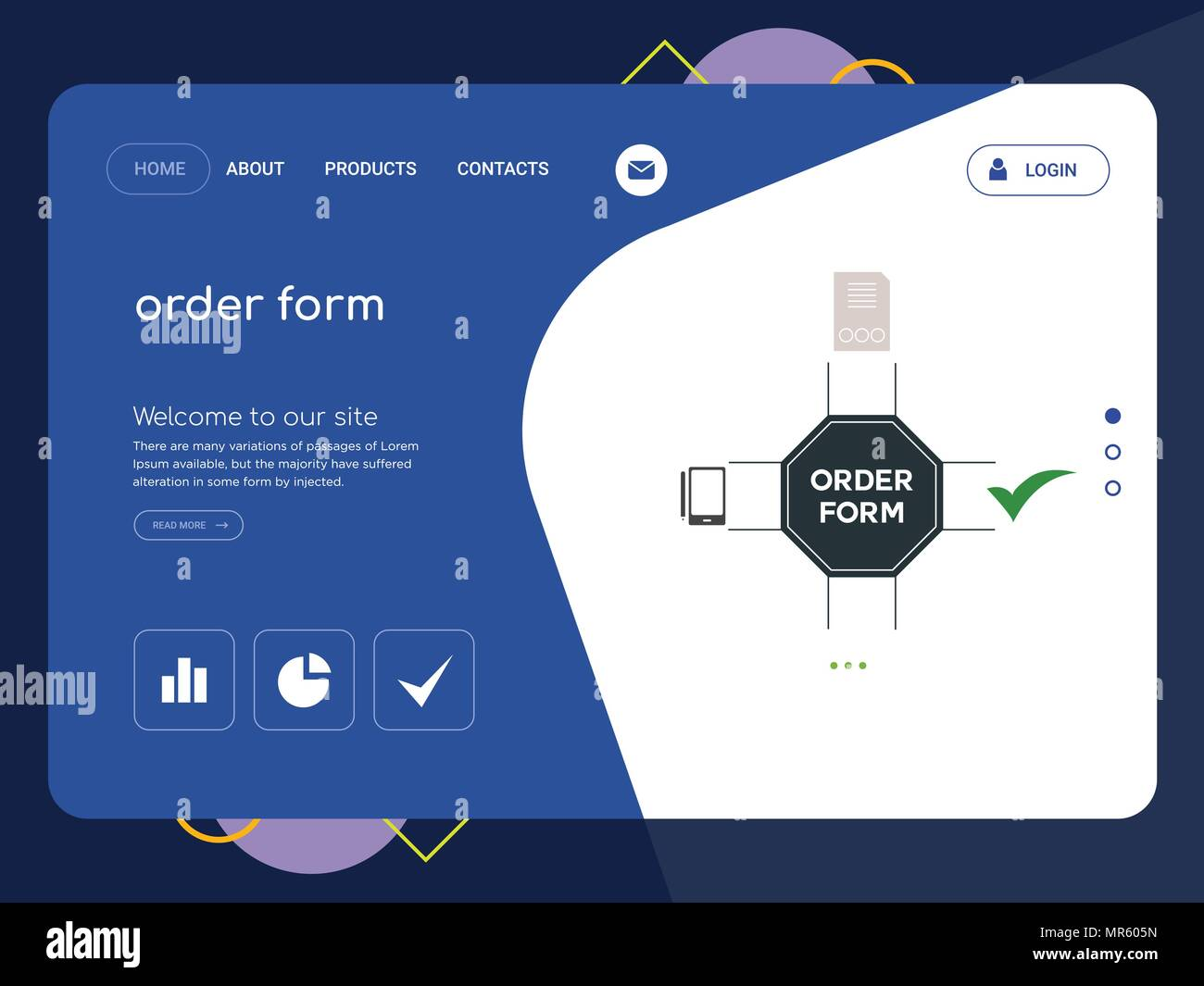 Quality One Page Order Form Website Template Vector Eps