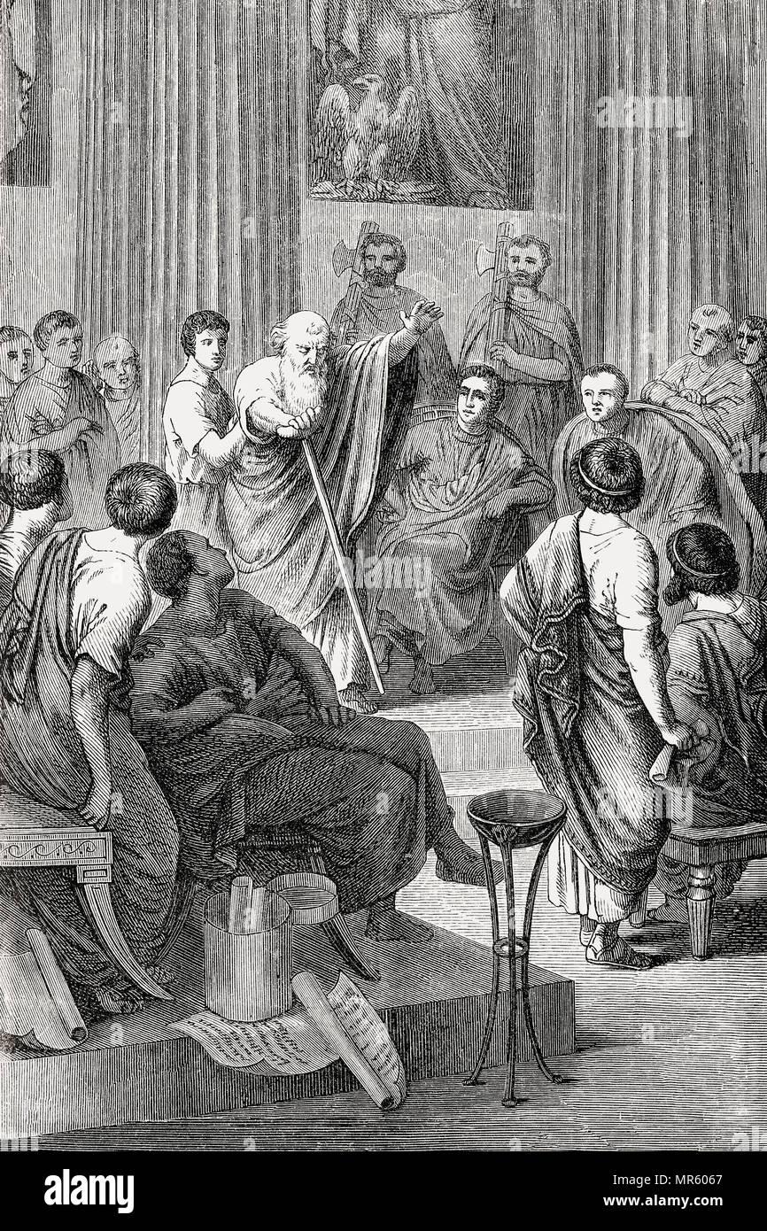 The famous speech of Appius Claudius Caecus in 279, against Cineas, an envoy of Pyrrhus of Epirus Stock Photo