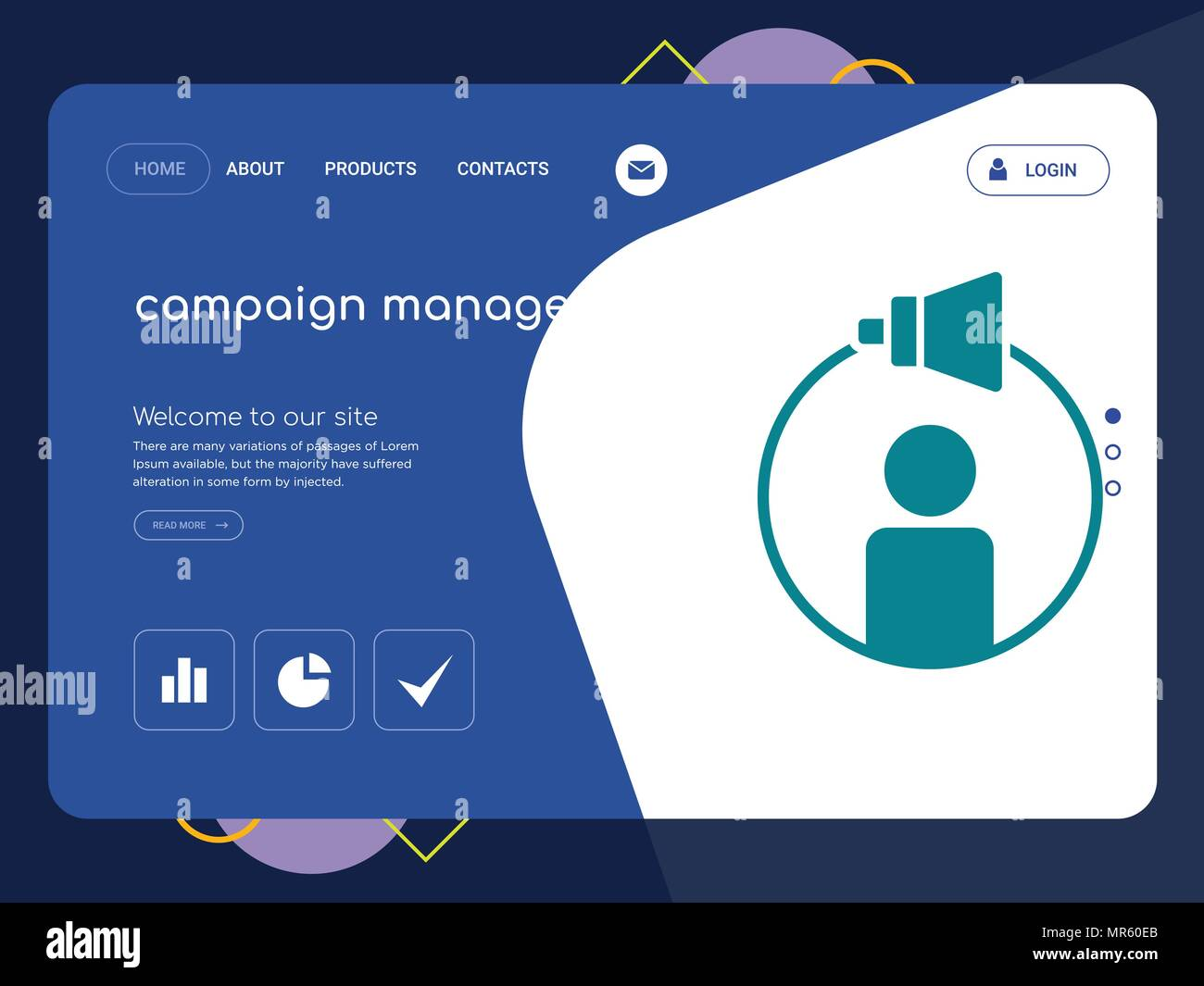 Quality One Page Campaign Management Website Template Vector Eps