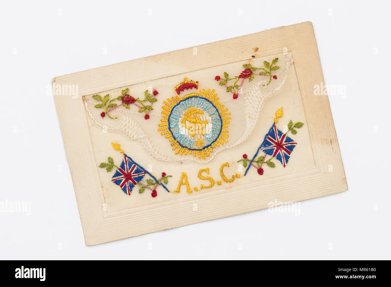 Army Service Corps First World War embroidered silk postcard - Stock Image