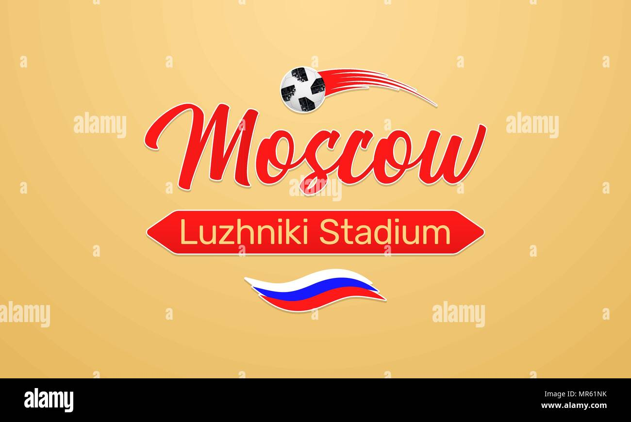World Football Championship in Russia 2018. Vector banner with inscription of Luzhniki Stadium in Moscow city on the World Soccer Cup in Russia - Stock Vector