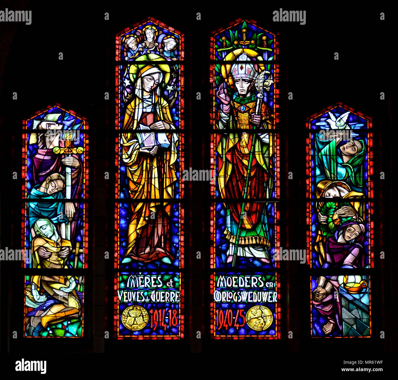 Stained glass window dedicated to bereaved Mothers and Widows of the two World Wars. National Basilica of the Sacred Heart / Basilique Nationale Koeke - Stock Image