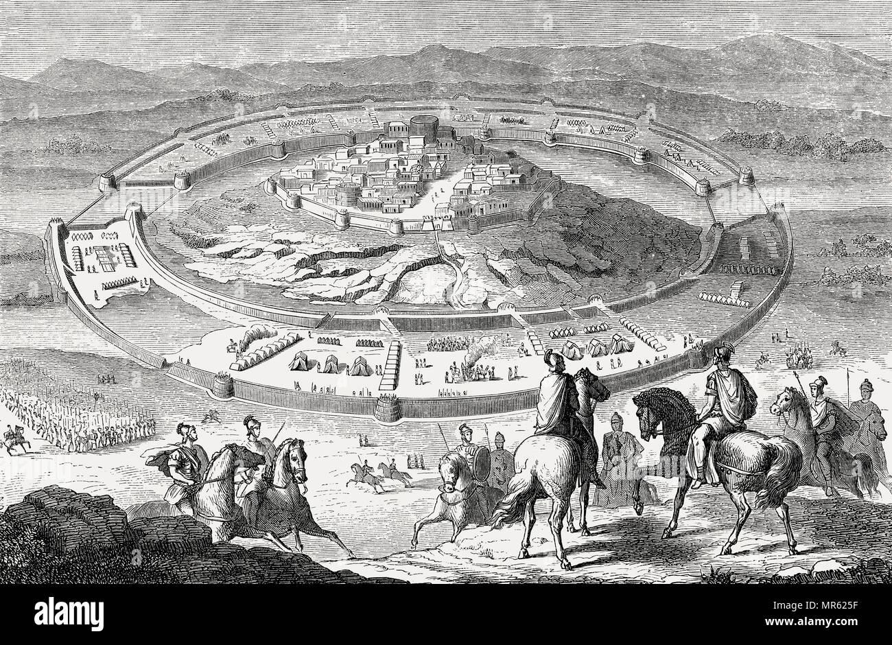 Siege of Numantia in 134 – 133 BC, Numantine War - Stock Image