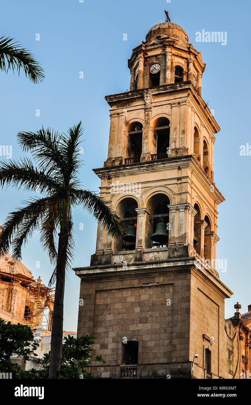 Belfry, Cathedral Nuestra Senora de la Asuncion - Veracruz, Mexico - Stock Image