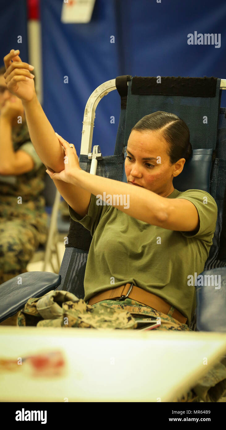 A Marine gives blood during the Red Cross blood drive at the station chapel aboard Marine Corps Air Station Beaufort, May 17. According to the Red Cross, one donation can save up to three lives. The Marine is with Headquarters and Headquarters Squadron, MCAS Beaufort. Stock Photo