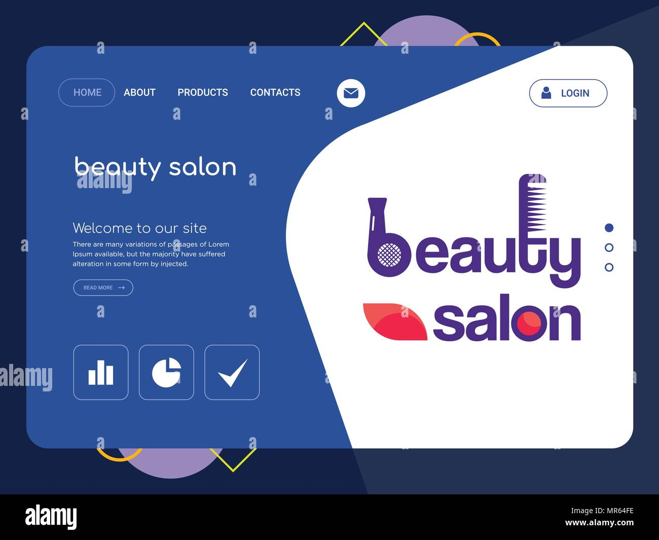 Quality One Page Beauty Salon Website Template Vector Eps Modern