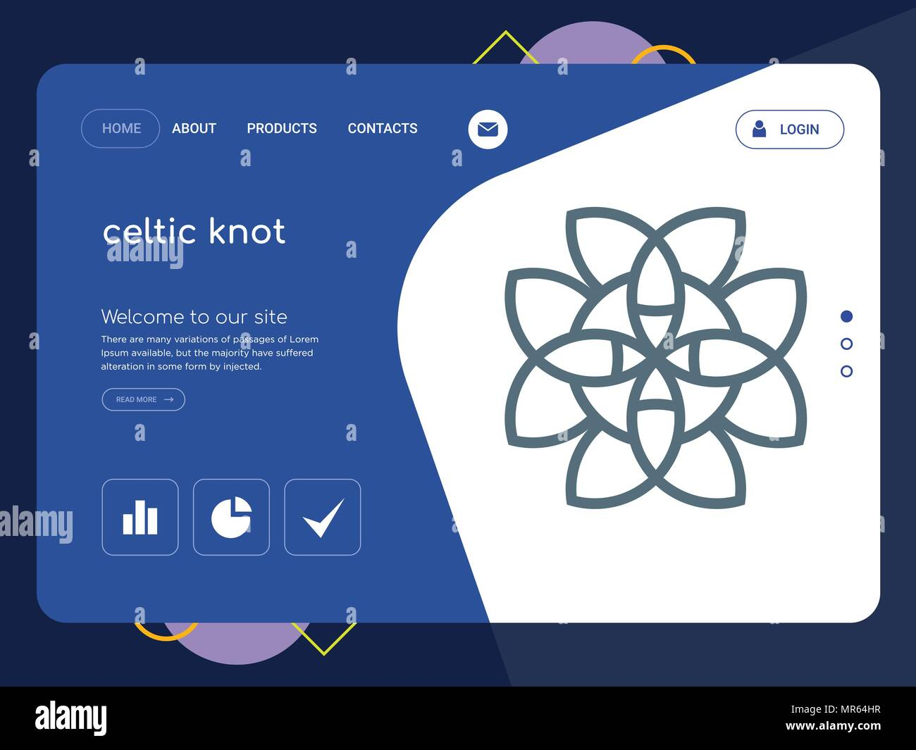 Quality One Page Celtic Knot Website Template Vector Eps Modern Web