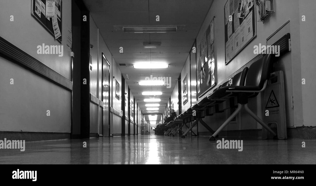 hospital corridor out patients,Hull Royal Infirmary - Stock Image