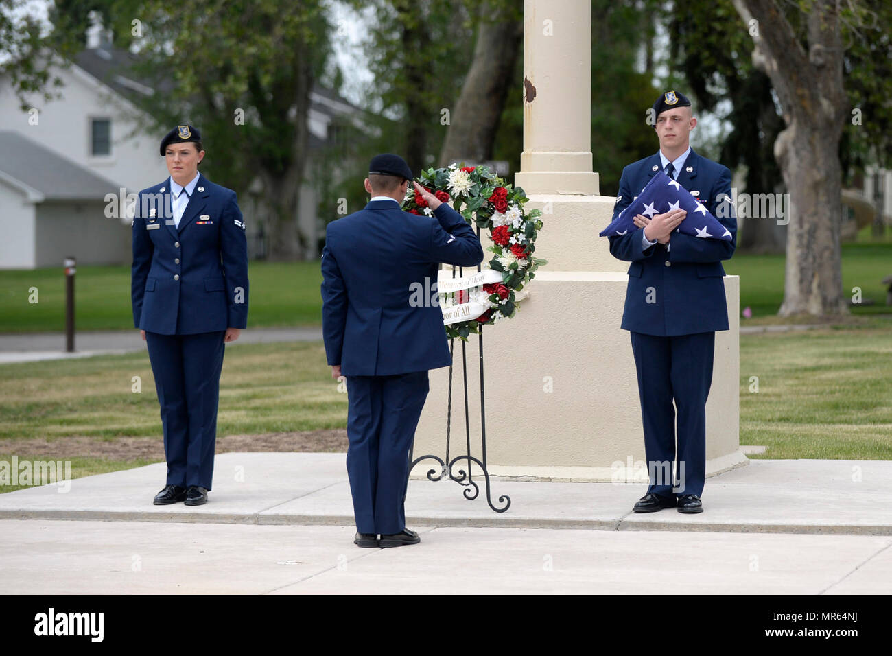 Airman Colin Coffman, 75th Security Forces Squadron, salutes