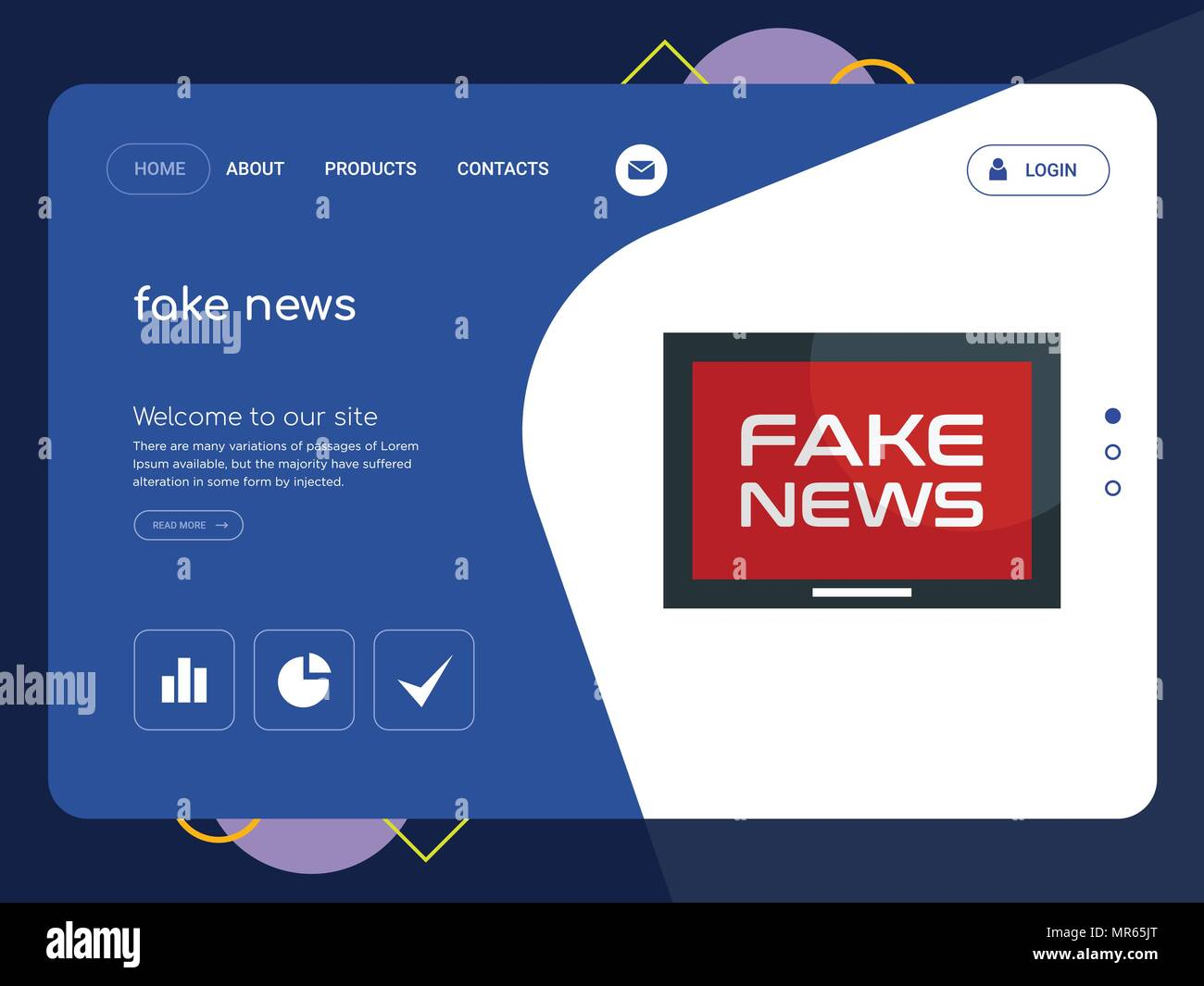 Quality One Page fake news Website Template Vector Eps, Modern Web ...