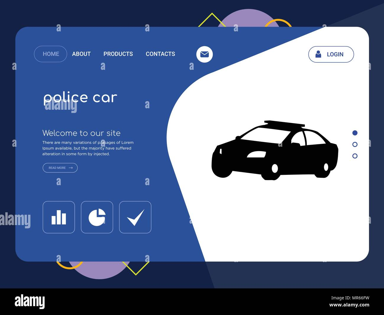 Police Car Website >> Quality One Page Police Car Website Template Vector Eps