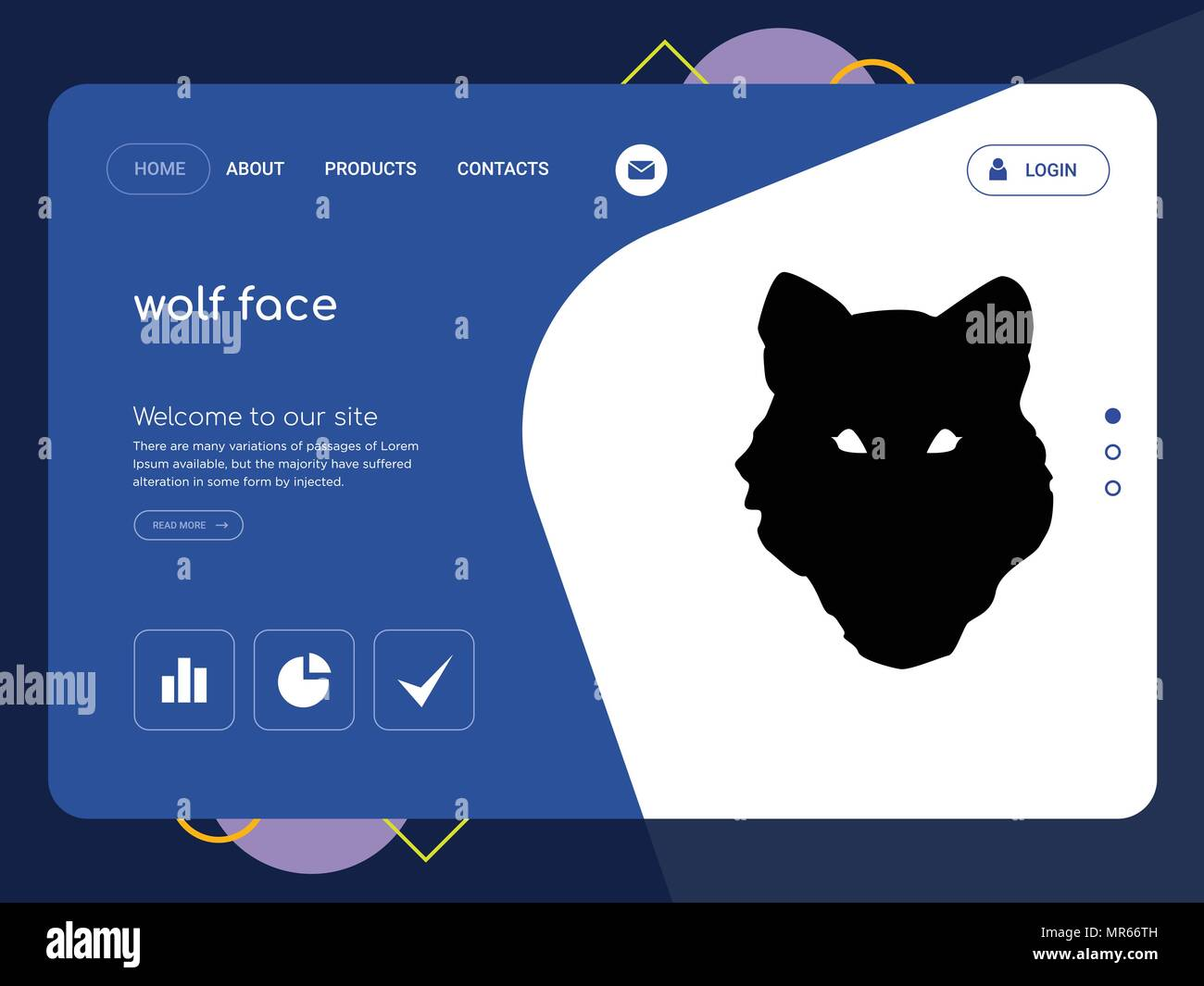 quality one page wolf face website template vector eps modern web