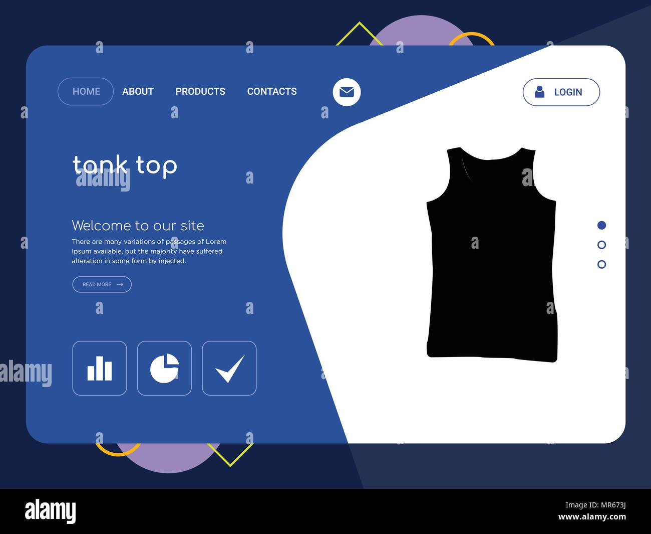 Quality One Page Tank Top Website Template Vector Eps Modern Web