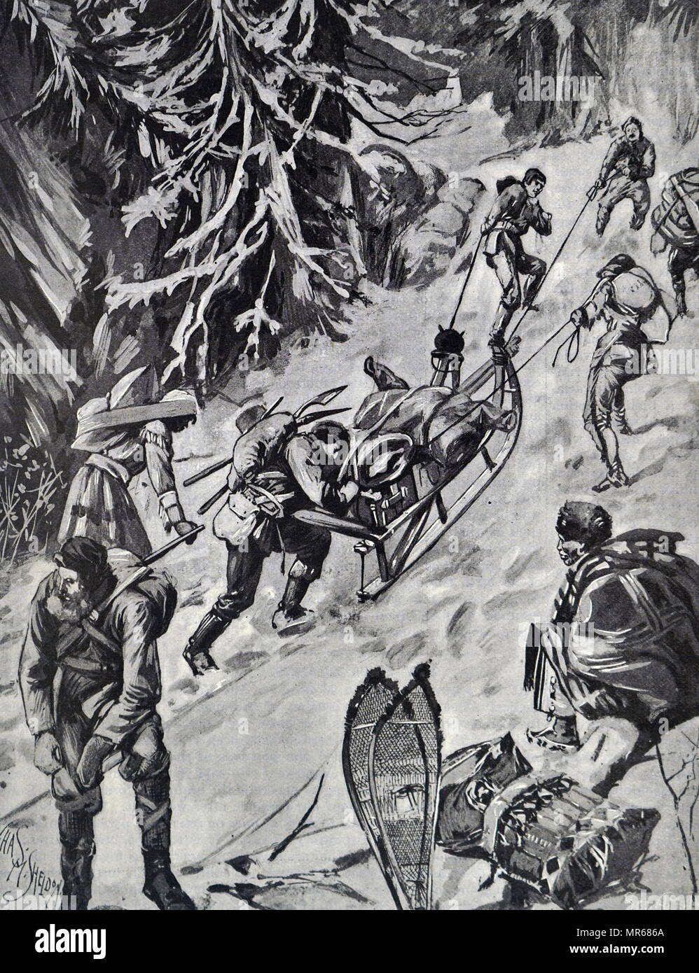 Engraving depicting Klondyke gold digging prospectors transporting their baggage up the arduous Chilkoot Pass, which involved a steep drag of 3,500 ft., and only the strongest and fittest were able to negotiate this route. Dated 19th century - Stock Image