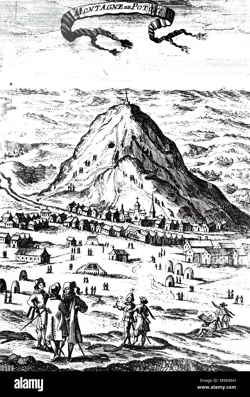 Engraving depicting a view of the Potosí mountain range in Bolivia, situated east and southeast of the city of Potosí. Dated 17th century - Stock Image