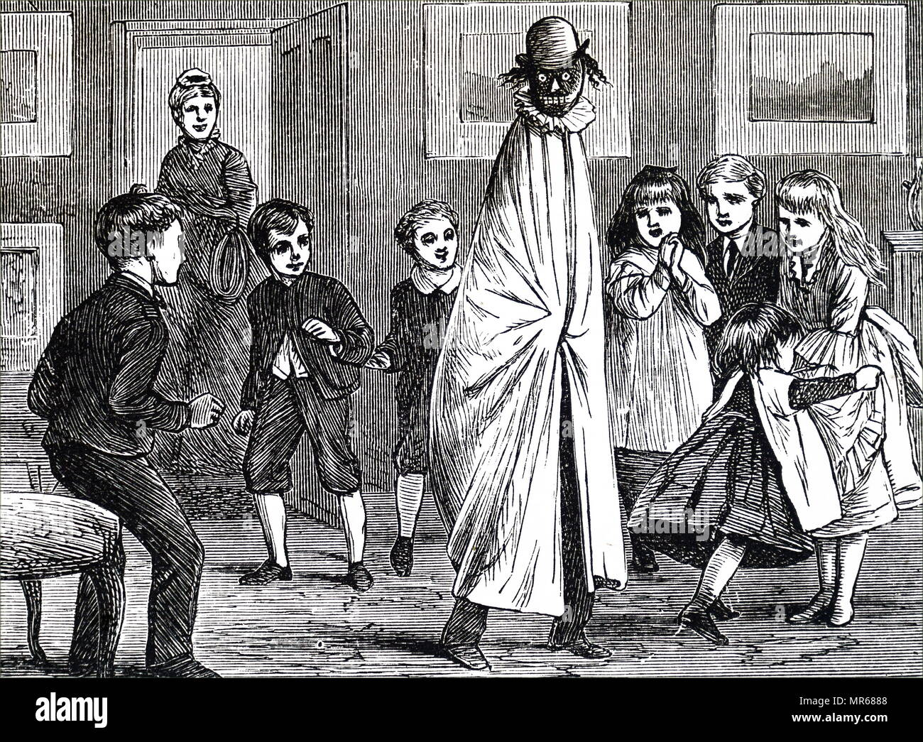 Engraving depicting children playing a game: one boy is seated on the shoulders of another, and the two are enveloped in a loose cloth and a false head added. Dated 19th century - Stock Image